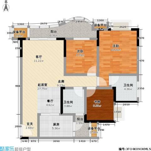保利・康桥3室0厅2卫1厨91.00㎡户型图