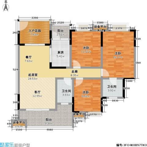 保利・康桥3室0厅2卫1厨111.00㎡户型图