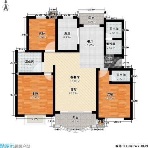 博泰景苑3室1厅3卫1厨151.00㎡户型图
