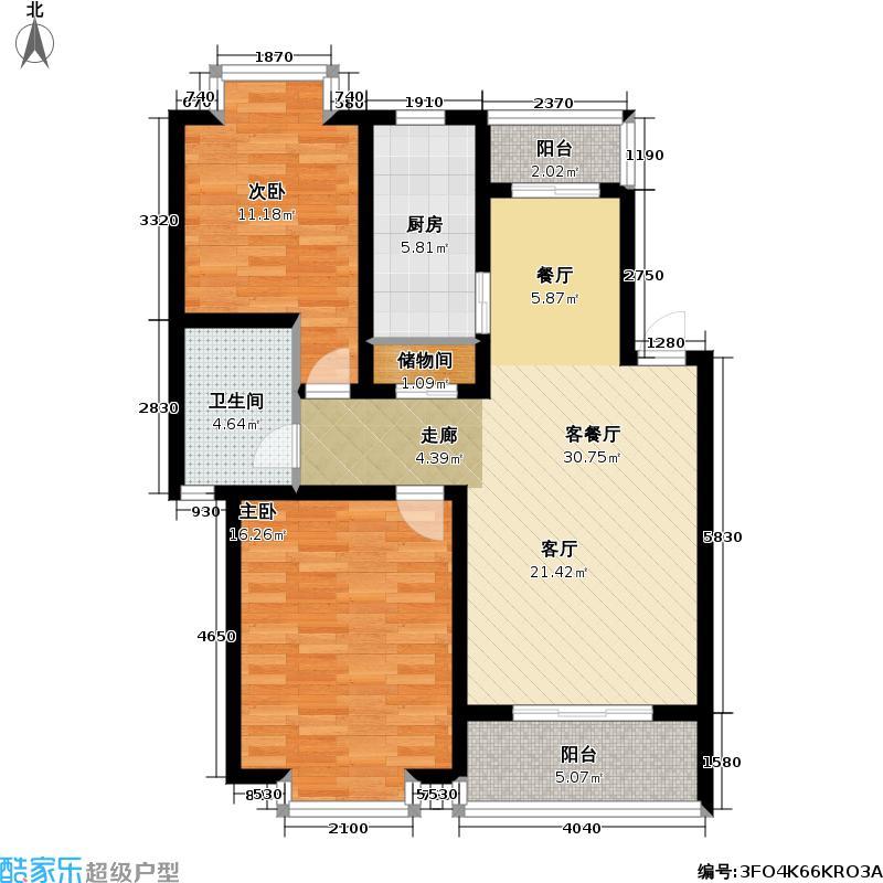 鸿力公寓2室2厅1卫89平米南北通户型