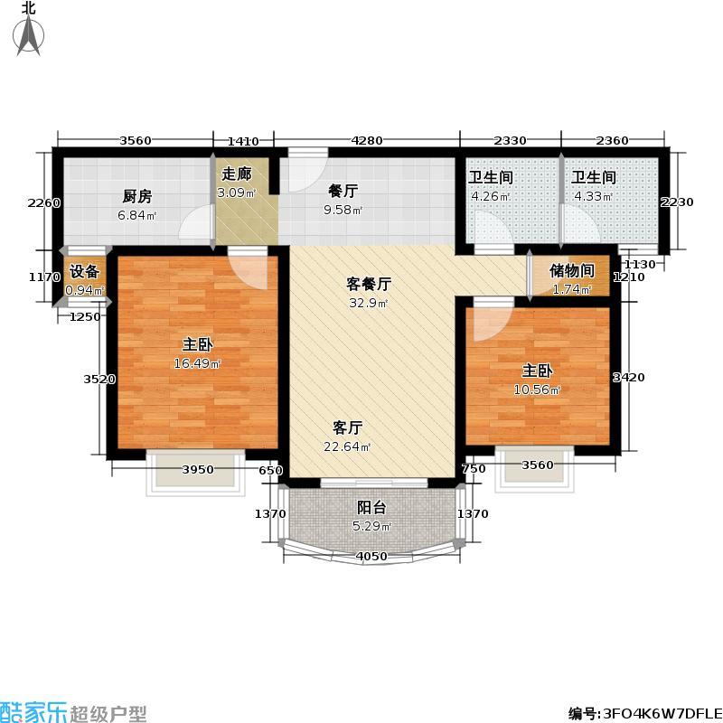 绿泉家苑96.58㎡房型: 二房; 面积段: 96.58 -110.2 平方米; 户型