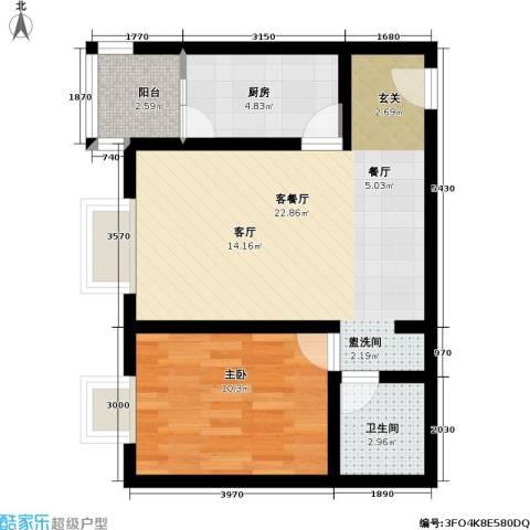 官苑八号1室1厅1卫1厨64.00㎡户型图