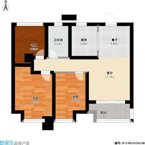 旭辉・御府3室1厅1卫1厨72.00㎡户型图