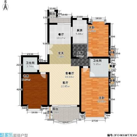 东苑世纪名门花园3室1厅2卫1厨130.80㎡户型图