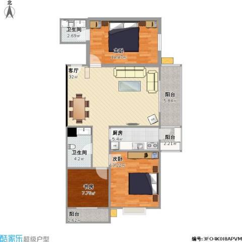 宏盛花园3室1厅2卫1厨122.00㎡户型图