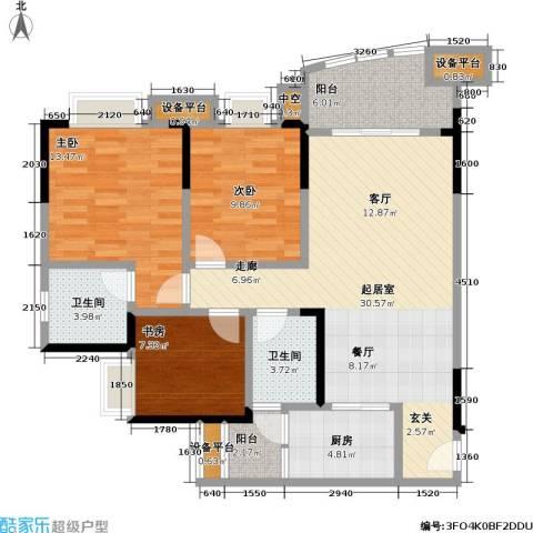 保利・康桥3室0厅2卫1厨86.00㎡户型图