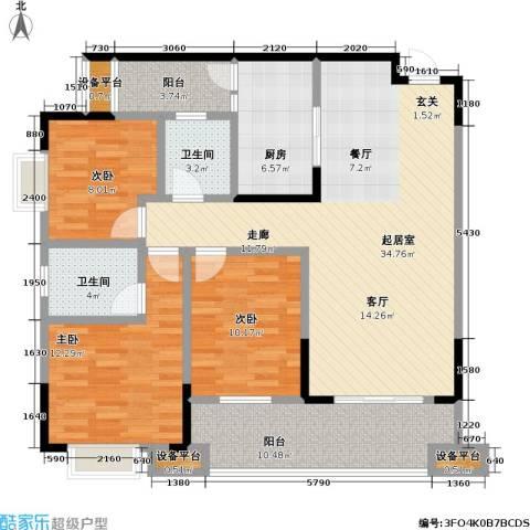 保利・康桥3室0厅2卫1厨95.00㎡户型图