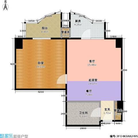 迦南公寓(尾盘)1卫1厨61.00㎡户型图