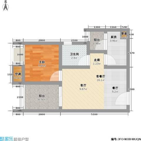 渝能・明日城市 明日城市1室1厅1卫1厨43.00㎡户型图
