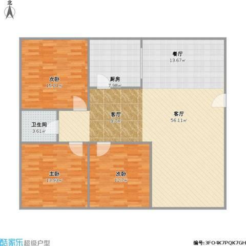贝港南区3室1厅1卫1厨145.00㎡户型图