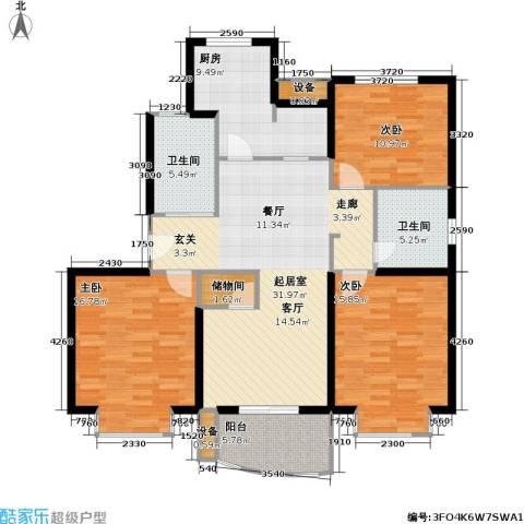 龙馨嘉园一期3室0厅2卫1厨105.00㎡户型图