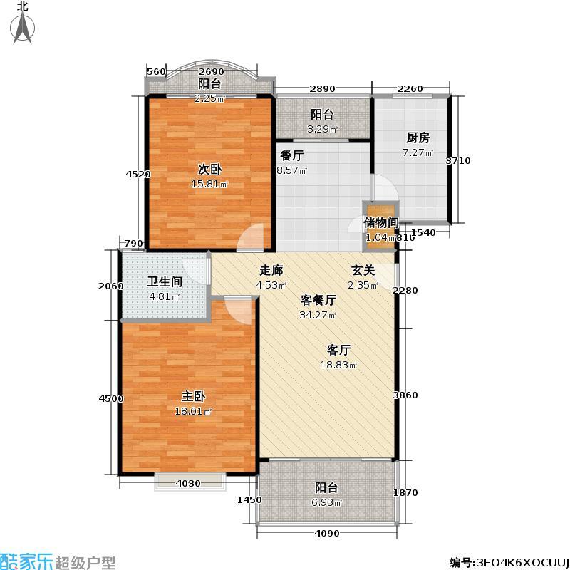 云润家园一期98.00㎡房型: 二房; 面积段: 98 -101.63 平方米;户型