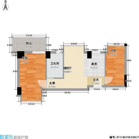 居易时代2室1厅1卫0厨49.00㎡户型图