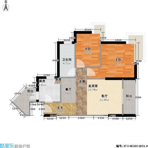 华景园2室0厅1卫1厨67.00㎡户型图