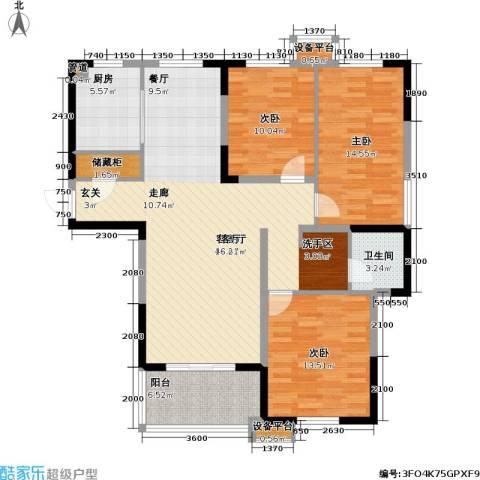 金盛田锦上3室1厅1卫1厨126.00㎡户型图