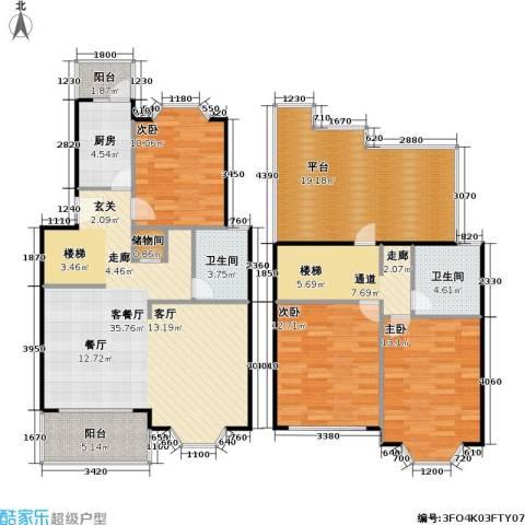 美之苑3室1厅2卫1厨129.00㎡户型图