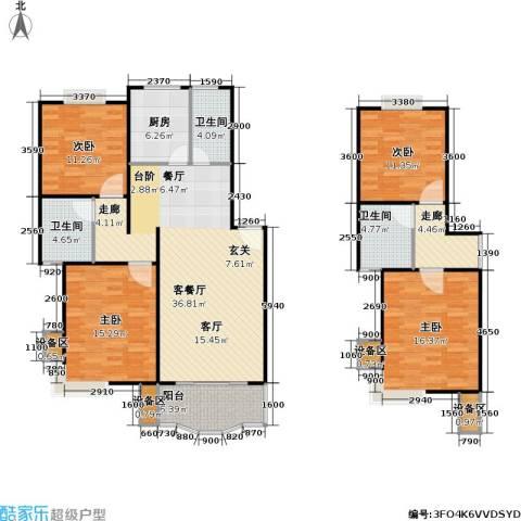 乾宁园4室1厅3卫1厨124.86㎡户型图