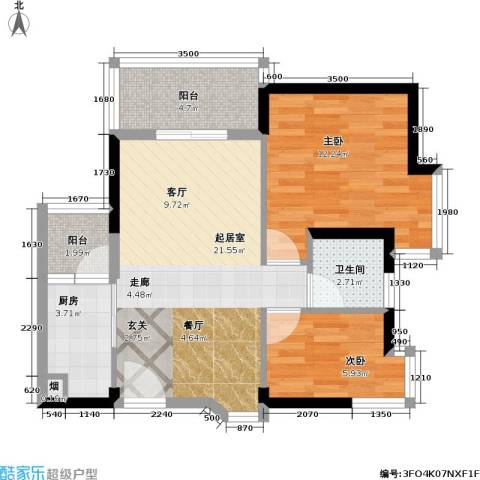 阳光花园四期海伦堡2室0厅1卫1厨70.00㎡户型图