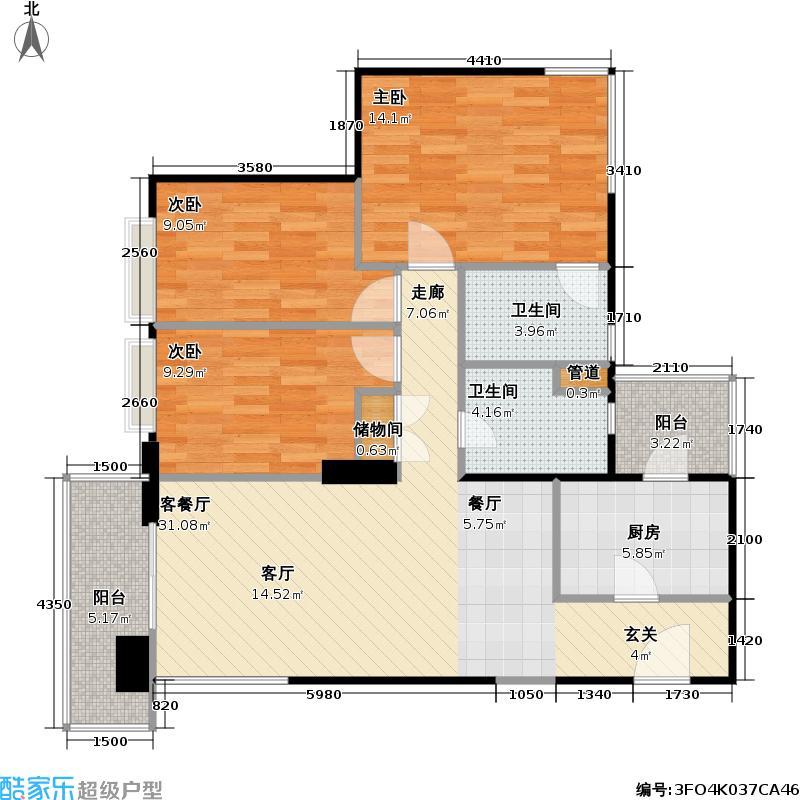 瑞虹一期110.92㎡房型户型