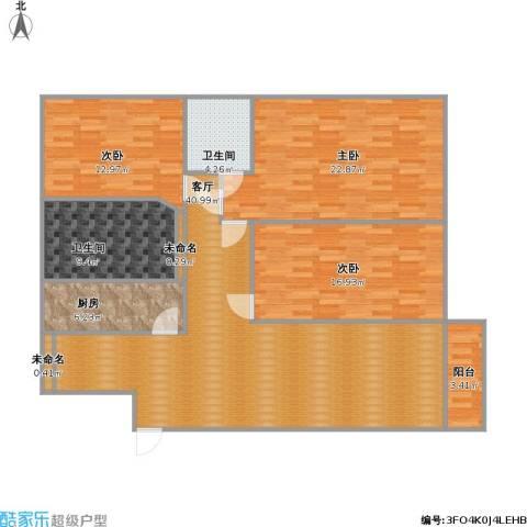鹏华香域花园3室1厅2卫1厨158.00㎡户型图