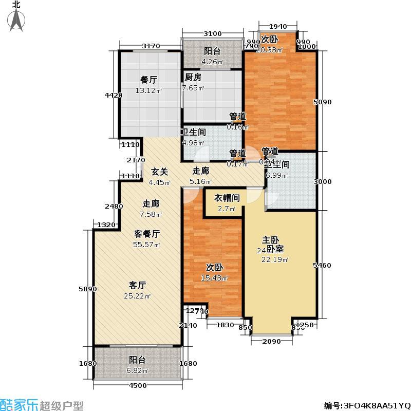 香溪度(熙湖二期)3号楼C反三室二厅二卫户型