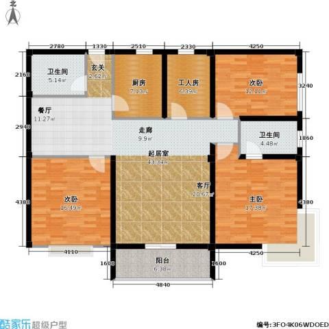 阳光花园3室0厅2卫1厨134.00㎡户型图