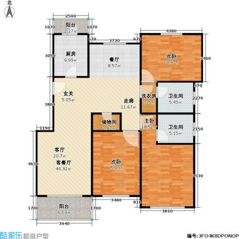 中星雪野家园3室1厅2卫1厨124.23㎡户型图