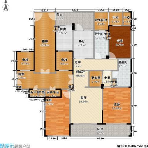 绿城・玉兰广场3室1厅2卫1厨158.00㎡户型图