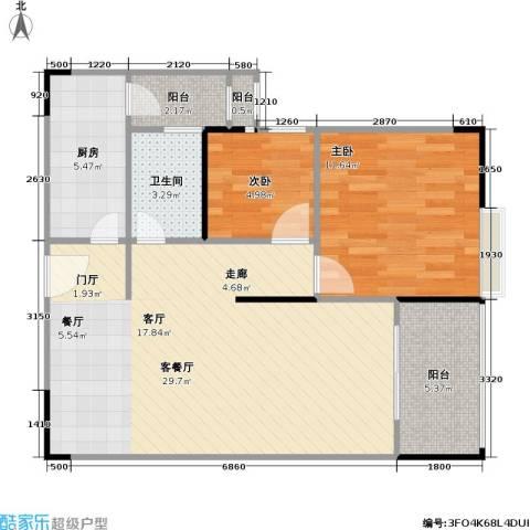鸿福花园2室1厅1卫1厨75.00㎡户型图
