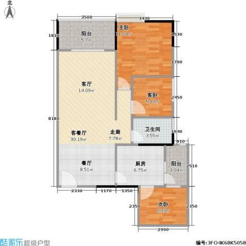 鸿福花园3室1厅1卫1厨98.00㎡户型图