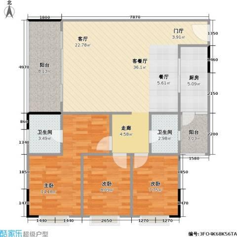 鸿福花园3室1厅2卫1厨120.00㎡户型图