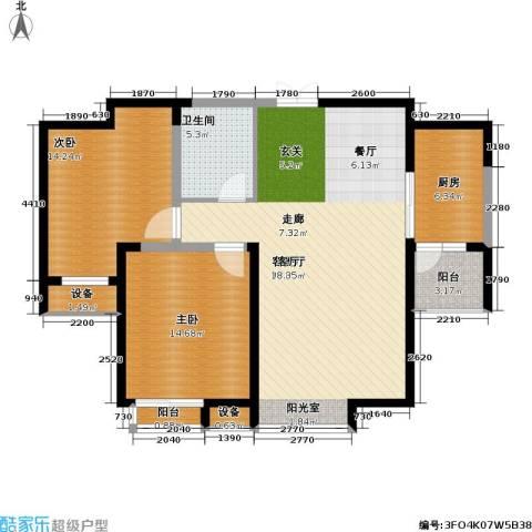 春江花月2室1厅1卫1厨98.00㎡户型图