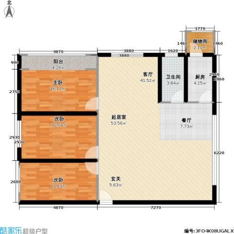 宝利豪庭3室0厅1卫1厨114.00㎡户型图