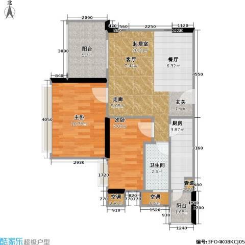 尚书苑2室0厅1卫1厨60.00㎡户型图