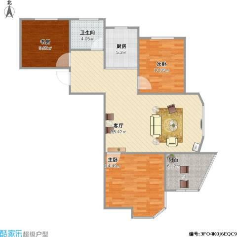 圣博・未来城3室1厅1卫1厨112.00㎡户型图