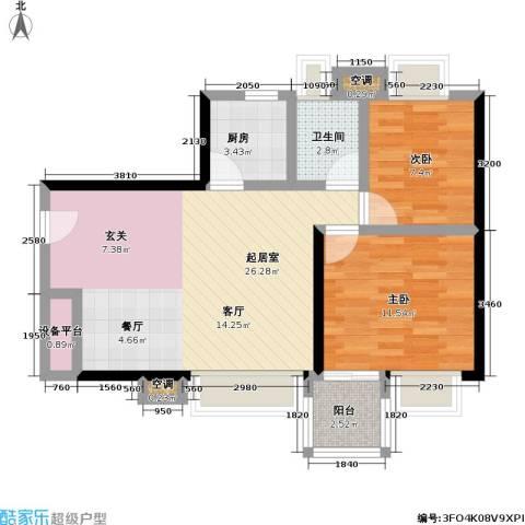 阳光城市家园2室0厅1卫1厨64.00㎡户型图