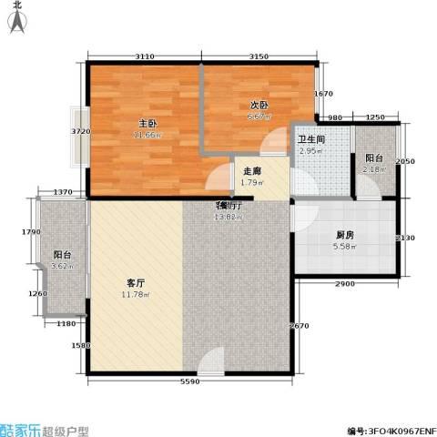 创世纪滨海花园2室1厅1卫1厨65.00㎡户型图
