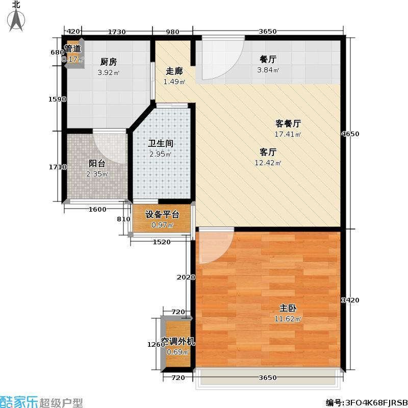 中天名园A136户户型1室1厅1卫1厨