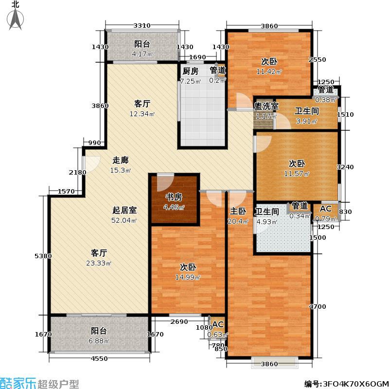 龙兆苑156.00㎡房型: 四房; 面积段: 156 -156 平方米; 户型