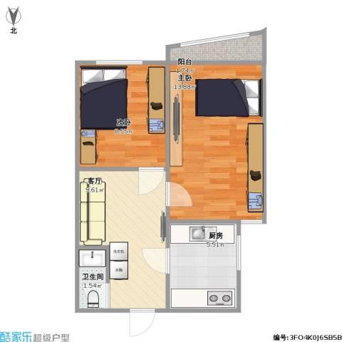 东方东路2室1厅1卫1厨56.00㎡户型图