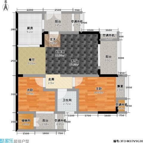 保利 椰风半岛2室0厅1卫1厨62.84㎡户型图