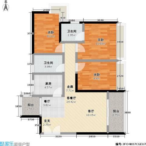 新天地3室1厅2卫1厨80.00㎡户型图