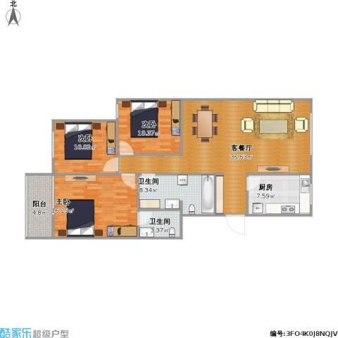 大唐壹号3室1厅2卫1厨131.00㎡户型图