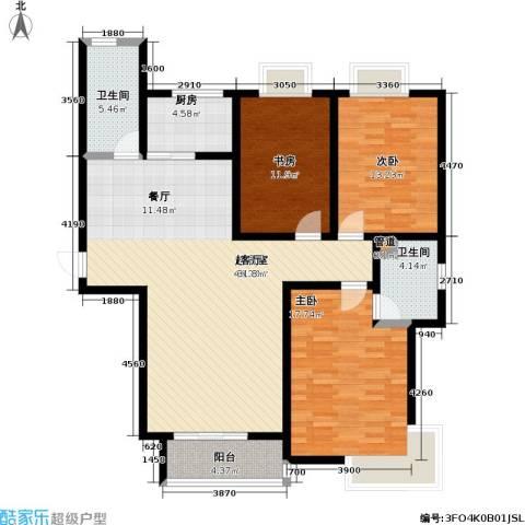 瑞泰澜庭3室0厅2卫1厨119.00㎡户型图