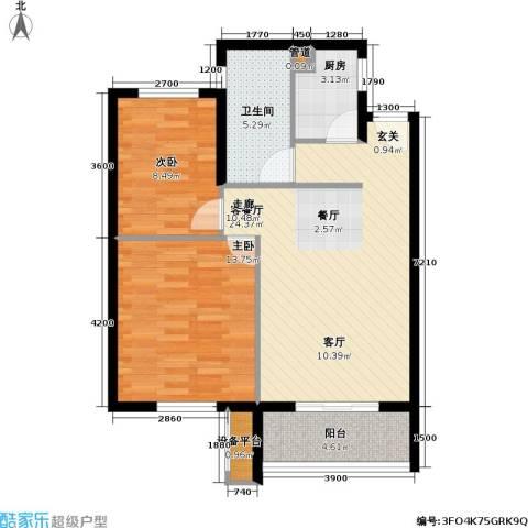 金盛田锦上2室1厅1卫1厨84.00㎡户型图