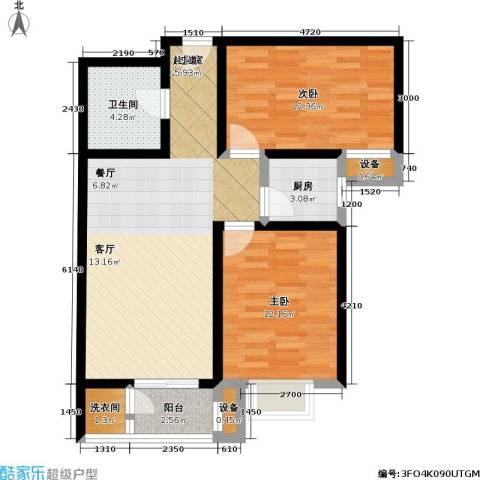 瑞泰澜庭2室0厅1卫1厨89.00㎡户型图