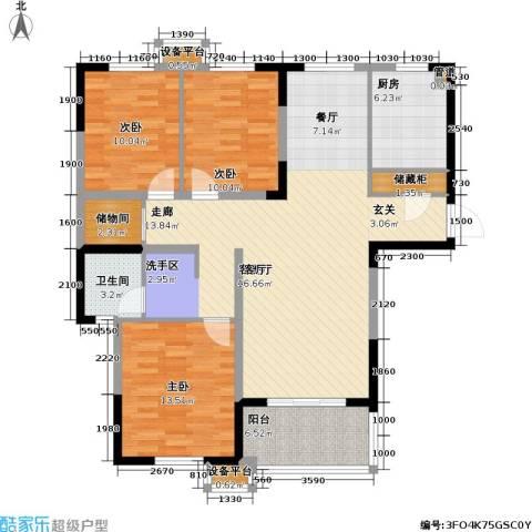 金盛田锦上3室1厅1卫1厨127.00㎡户型图