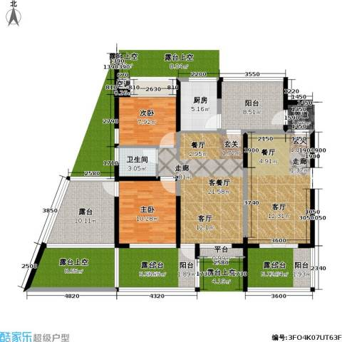 金地梅陇镇2室1厅1卫1厨134.00㎡户型图