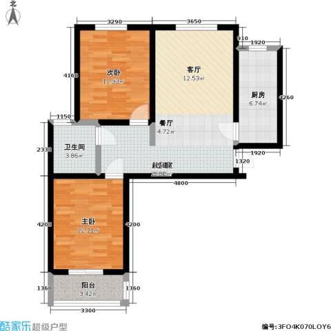 瑞泰澜庭2室0厅1卫1厨93.00㎡户型图