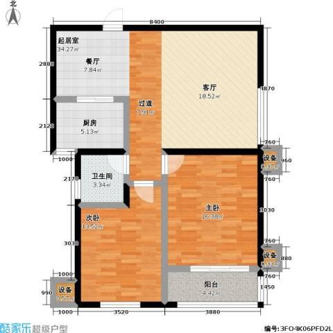 瑞泰澜庭2室0厅1卫1厨87.00㎡户型图